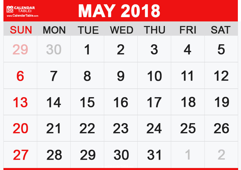 Calendar-May-2018-Landscape