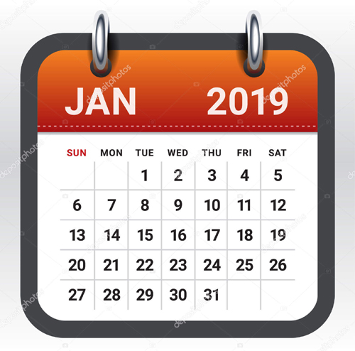 January 2019 monthly calendar vector illustration, simple and clean design.